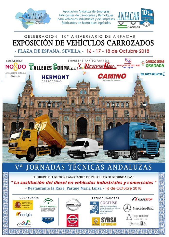 Inauguración de exposición de vehículos carrozados en la Plaza de España de Sevilla.