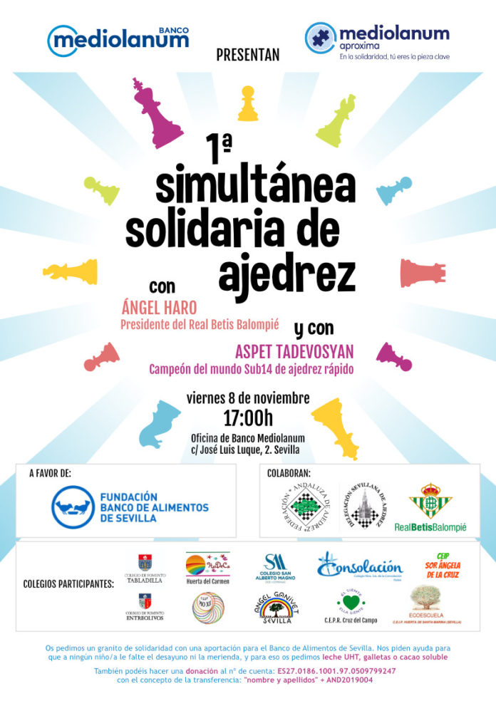 Cartel 1º Simultánea Solidaria de Ajedrez