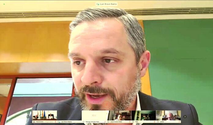 El consejero Juan Bravo comparece por videoconferencia ante la Diputación Permanente del Parlamento andaluz